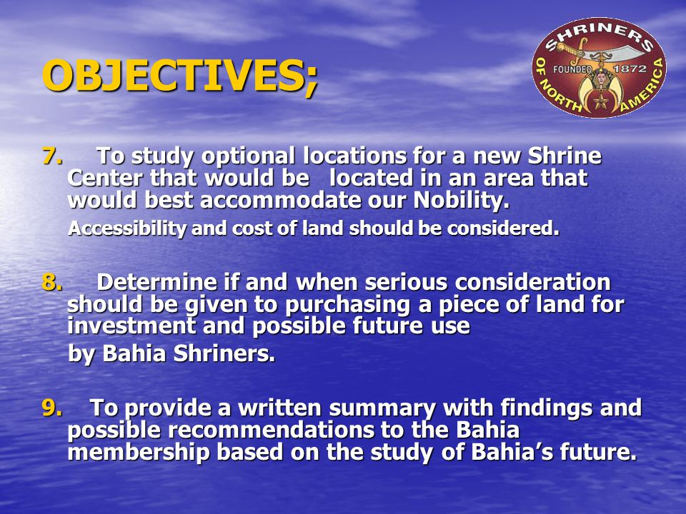 OBJECTIVES; 7.