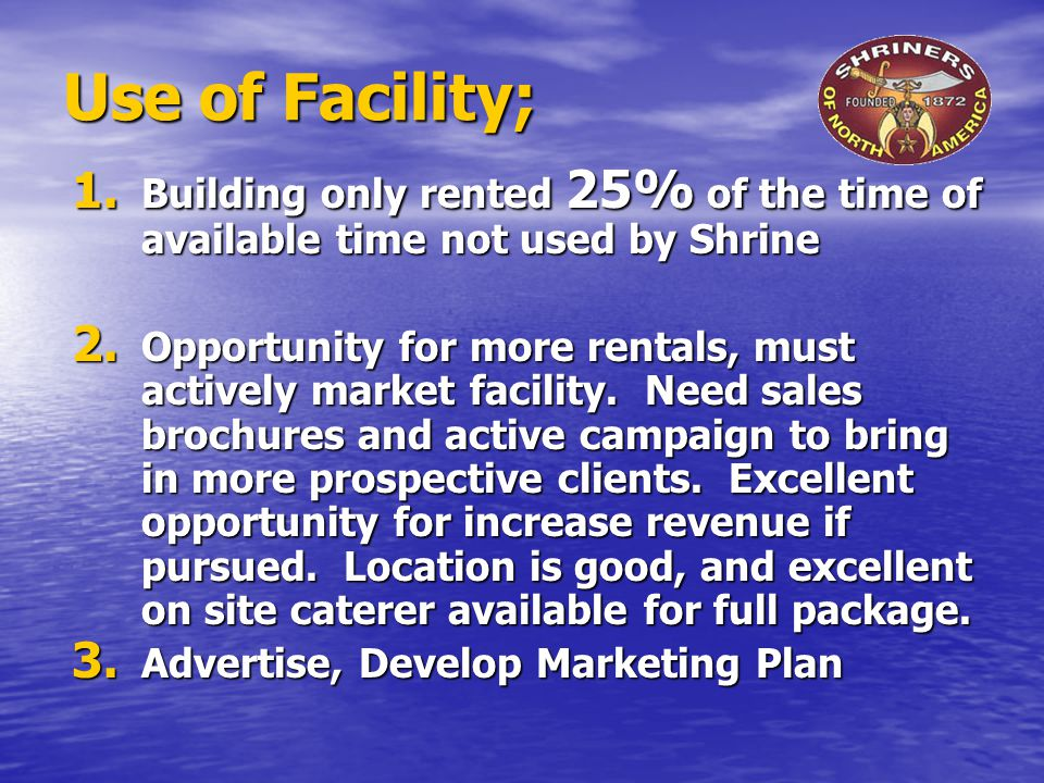 Use of Facility; 1. Building only rented 25% of the time of available time not used by Shrine 2.