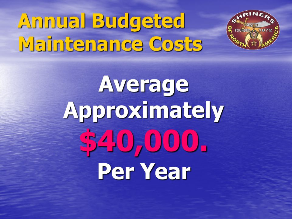 Annual Budgeted Maintenance Costs Average Approximately $40,000. Per Year