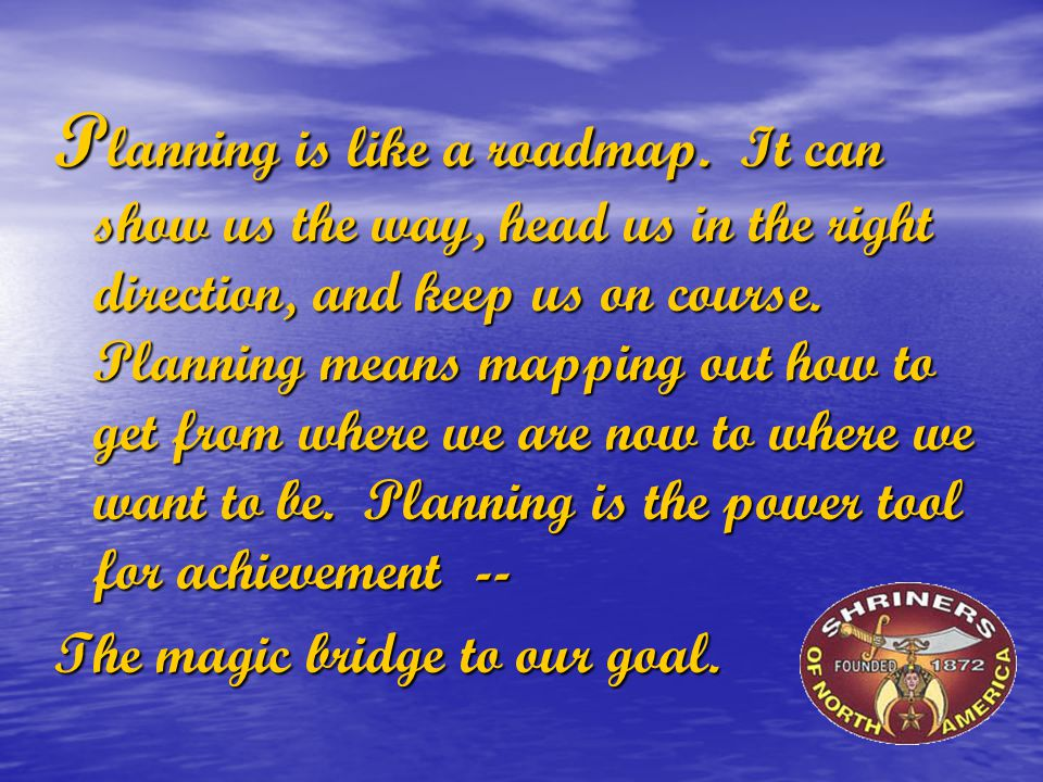 P lanning is like a roadmap. It can show us the way, head us in the right direction, and keep us on course. Planning means mapping out how to get from