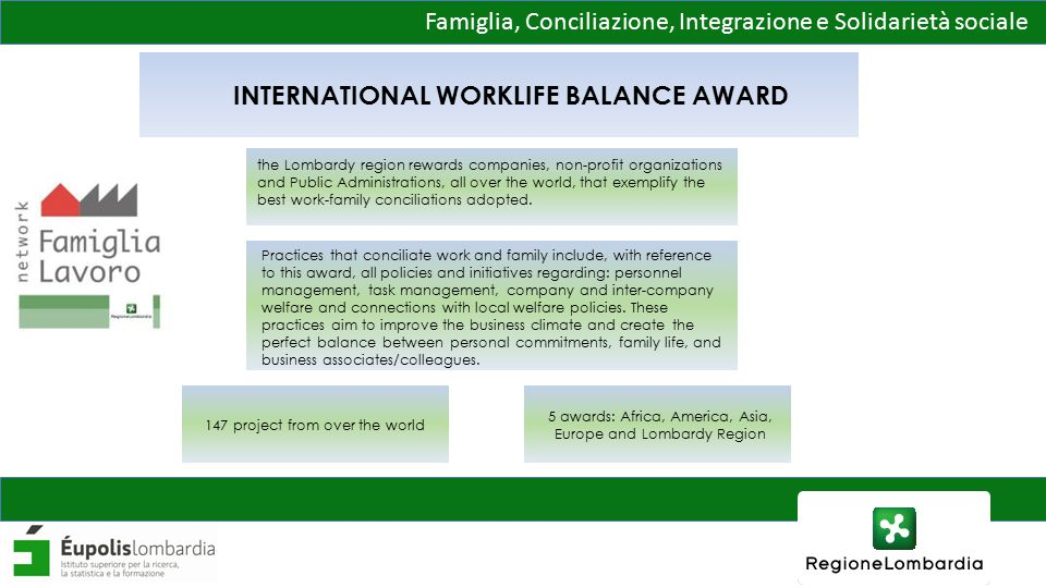 Famiglia, Conciliazione, Integrazione e Solidarietà sociale INTERNATIONAL WORKLIFE BALANCE AWARD the Lombardy region rewards companies, non-profit organizations and Public Administrations, all over the world, that exemplify the best work-family conciliations adopted.