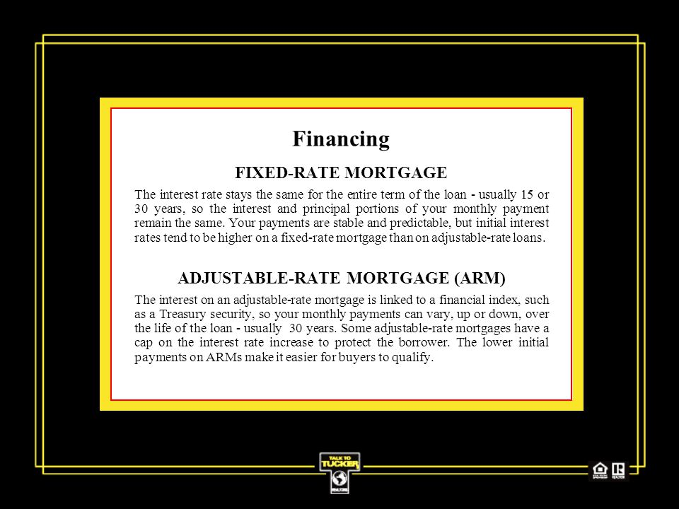 Financing FIXED-RATE MORTGAGE The interest rate stays the same for the entire term of the loan - usually 15 or 30 years, so the interest and principal portions of your monthly payment remain the same.