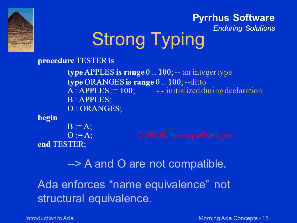Morning Ada Concepts - 15Introduction to Ada Pyrrhus Software Enduring Solutions Strong Typing procedure TESTER is type APPLES is range 0..