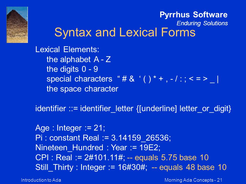 Morning Ada Concepts - 21Introduction to Ada Pyrrhus Software Enduring Solutions Syntax and Lexical Forms Lexical Elements: the alphabet A - Z the digits 0 - 9 special characters # & ' ( ) * +, - / : ; _ | the space character identifier ::= identifier_letter {[underline] letter_or_digit} Age : Integer := 21; Pi : constant Real := 3.14159_26536; Nineteen_Hundred : Year := 19E2; CPI : Real := 2#101.11#; -- equals 5.75 base 10 Still_Thirty : Integer := 16#30#; -- equals 48 base 10