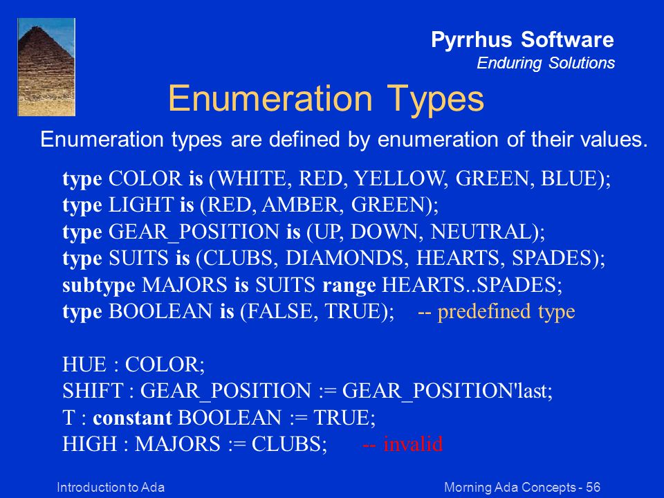 Morning Ada Concepts - 56Introduction to Ada Pyrrhus Software Enduring Solutions Enumeration Types Enumeration types are defined by enumeration of their values.
