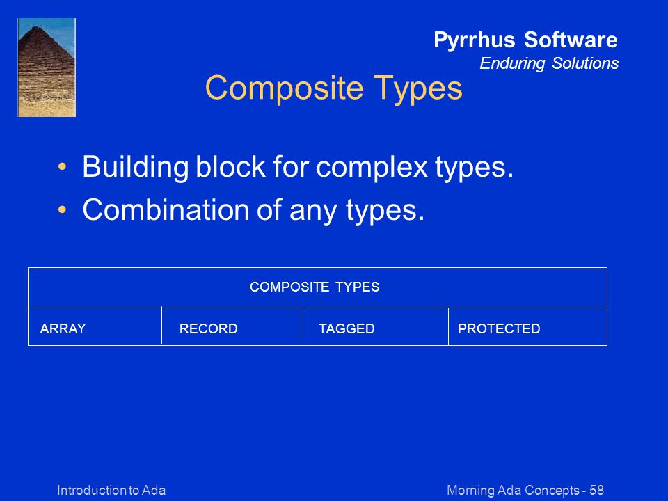 Morning Ada Concepts - 58Introduction to Ada Pyrrhus Software Enduring Solutions Composite Types Building block for complex types.
