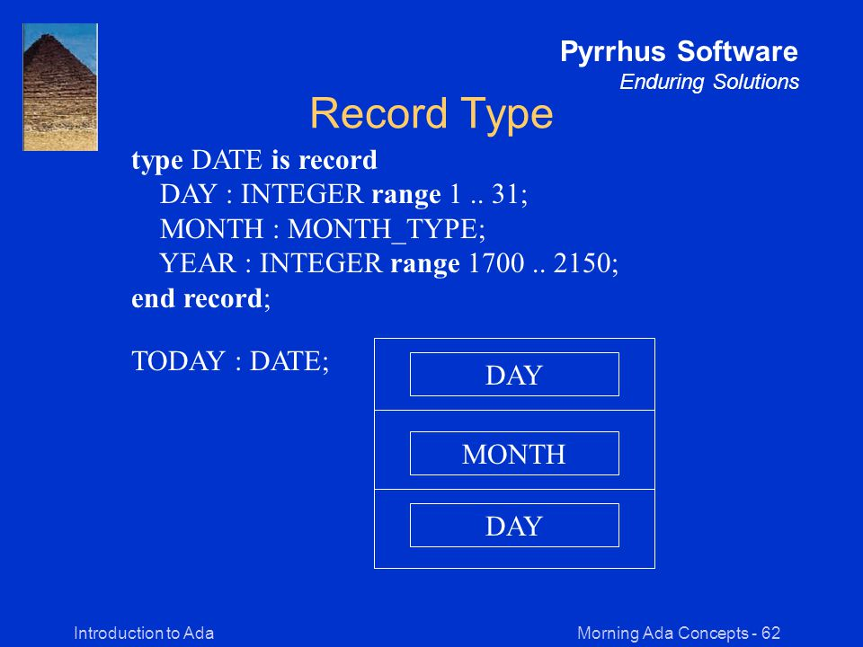 Morning Ada Concepts - 62Introduction to Ada Pyrrhus Software Enduring Solutions Record Type type DATE is record DAY : INTEGER range 1..
