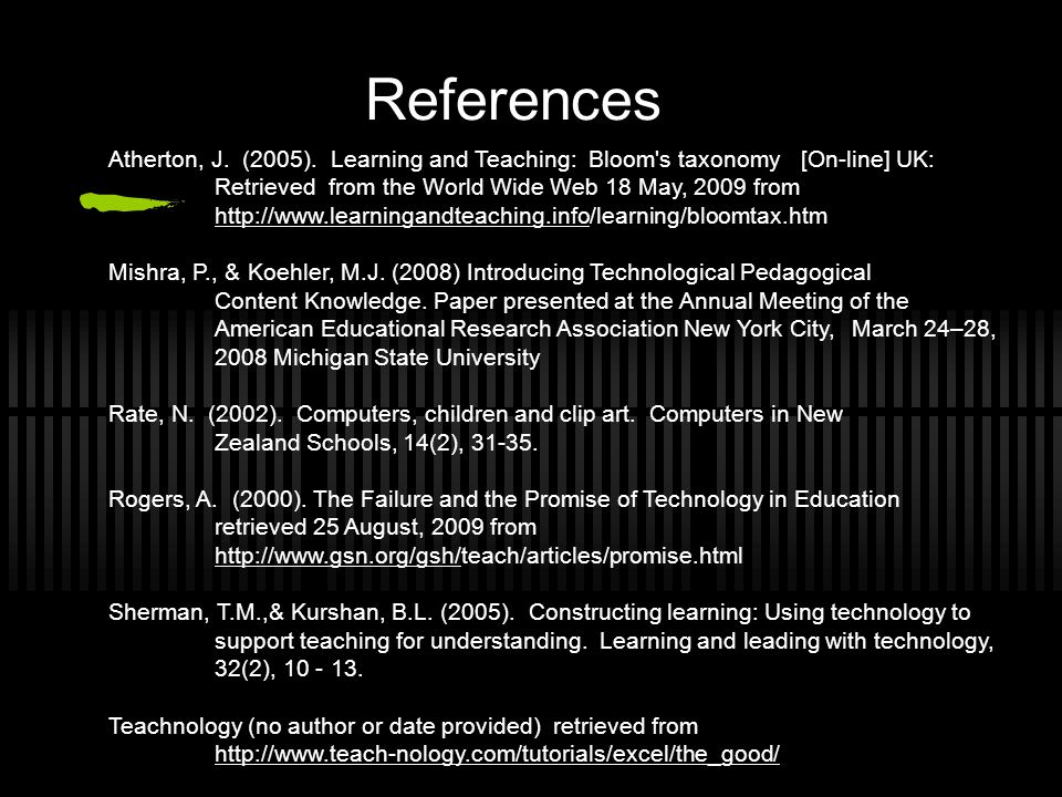 References Atherton, J. (2005).