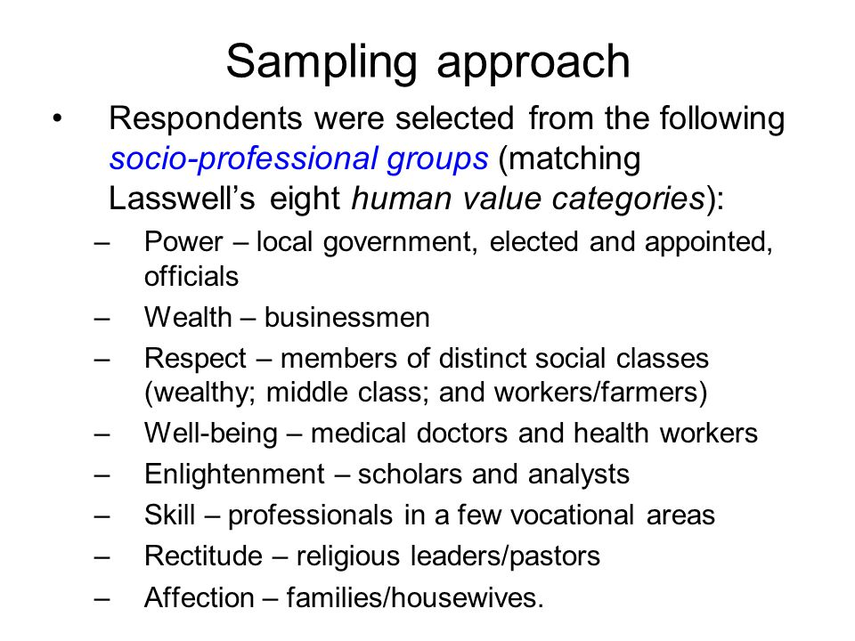 Sampling approach Respondents were selected from the following socio-professional groups (matching Lasswell's eight human value categories): –Power – local government, elected and appointed, officials –Wealth – businessmen –Respect – members of distinct social classes (wealthy; middle class; and workers/farmers) –Well-being – medical doctors and health workers –Enlightenment – scholars and analysts –Skill – professionals in a few vocational areas –Rectitude – religious leaders/pastors –Affection – families/housewives.