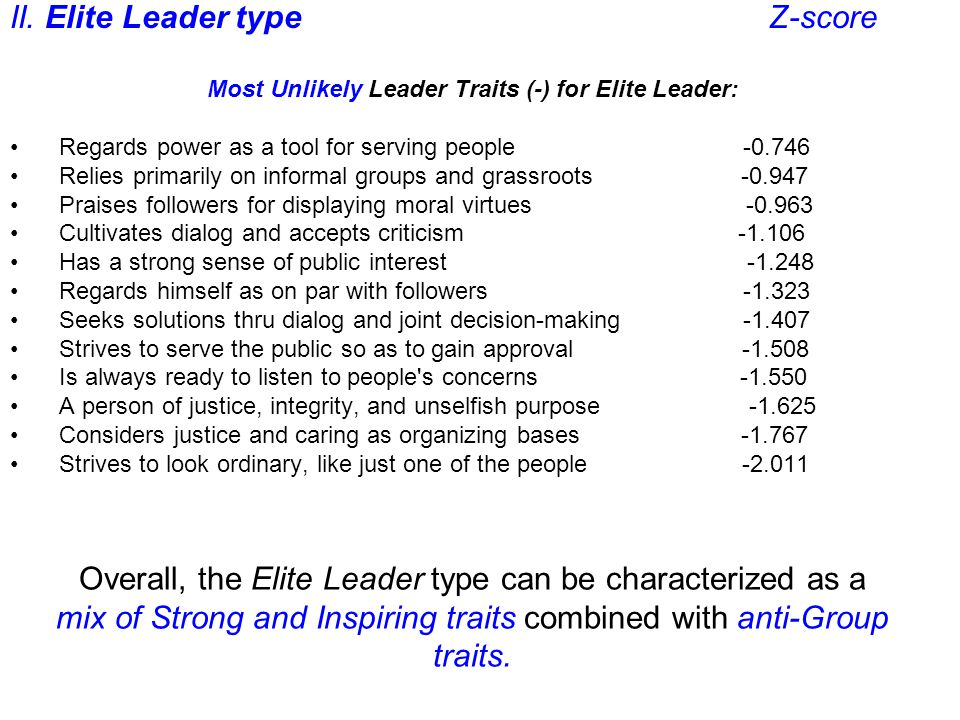 Overall, the Elite Leader type can be characterized as a mix of Strong and Inspiring traits combined with anti-Group traits.