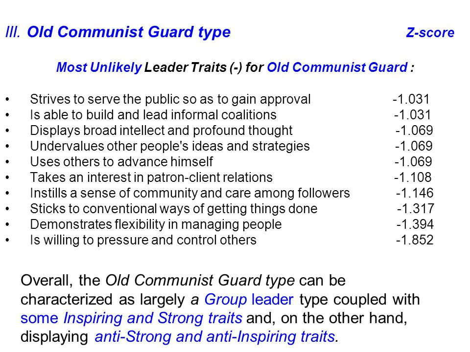 Overall, the Old Communist Guard type can be characterized as largely a Group leader type coupled with some Inspiring and Strong traits and, on the other hand, displaying anti-Strong and anti-Inspiring traits.