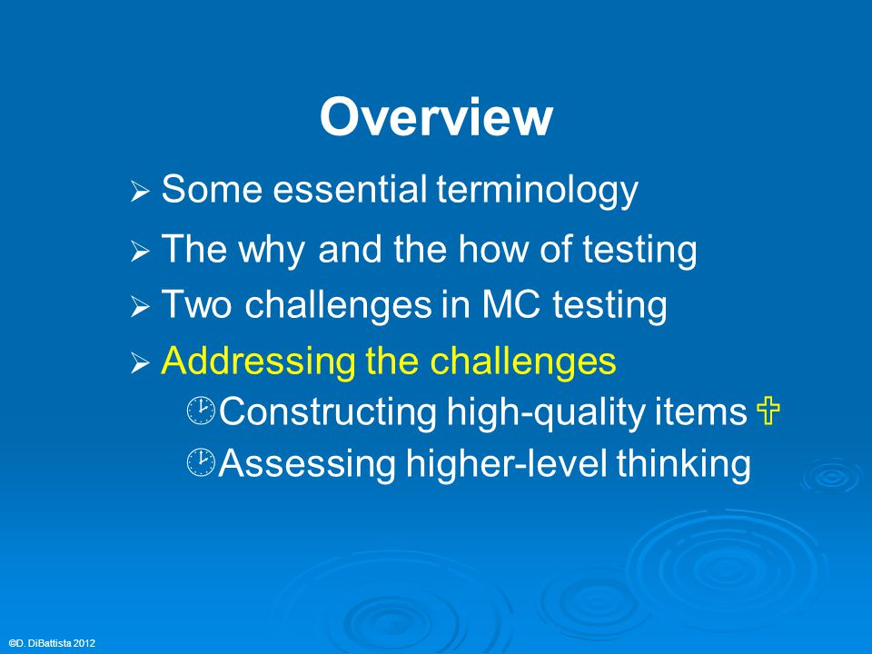Overview   Some essential terminology   The why and the how of testing   Two challenges in MC testing   Addressing the challenges  Constructi