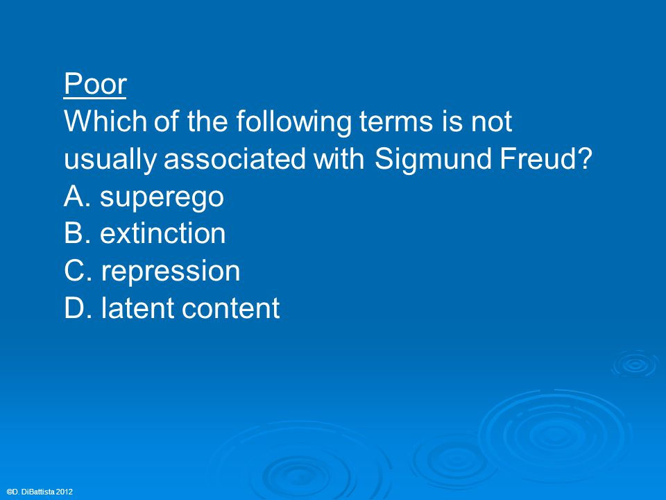 Poor Which of the following terms is not usually associated with Sigmund Freud? A. superego B. extinction C. repression D. latent content ©D. DiBattis