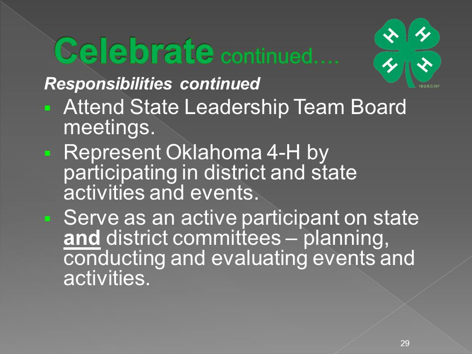 Responsibilities continued  Attend State Leadership Team Board meetings.