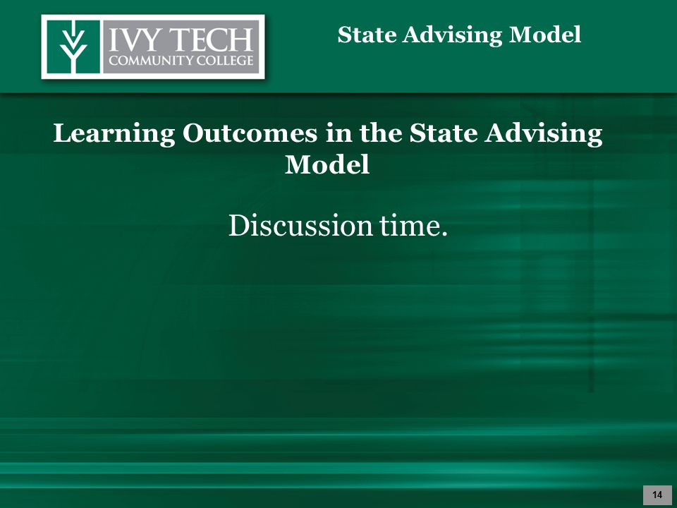 14 Learning Outcomes in the State Advising Model Discussion time.