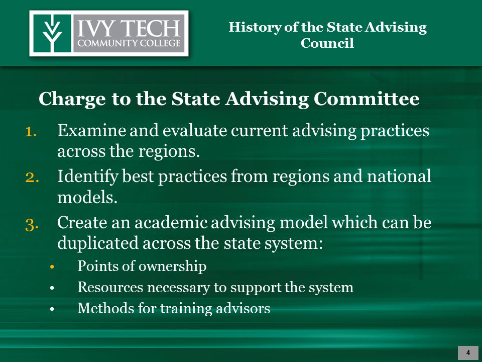 History of the State Advising Council 5 4.Submit model to regions for development of specific regional plans for implementation.