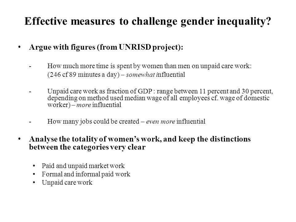 Effective measures to challenge gender inequality.