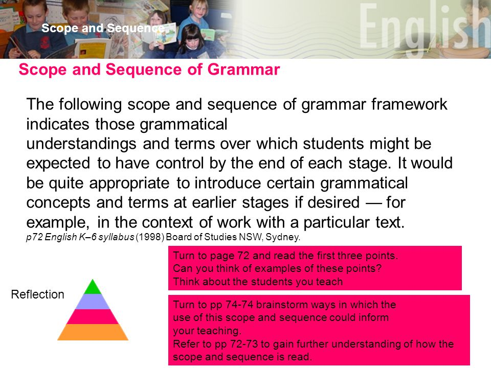 30 Scope and Sequence The following scope and sequence of grammar framework indicates those grammatical understandings and terms over which students might be expected to have control by the end of each stage.