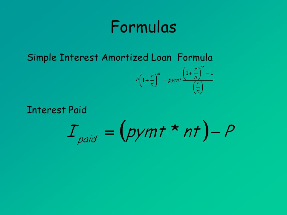 Formulas Unpaid Balance Formula T is the number of years from the beginning of the loan to the present