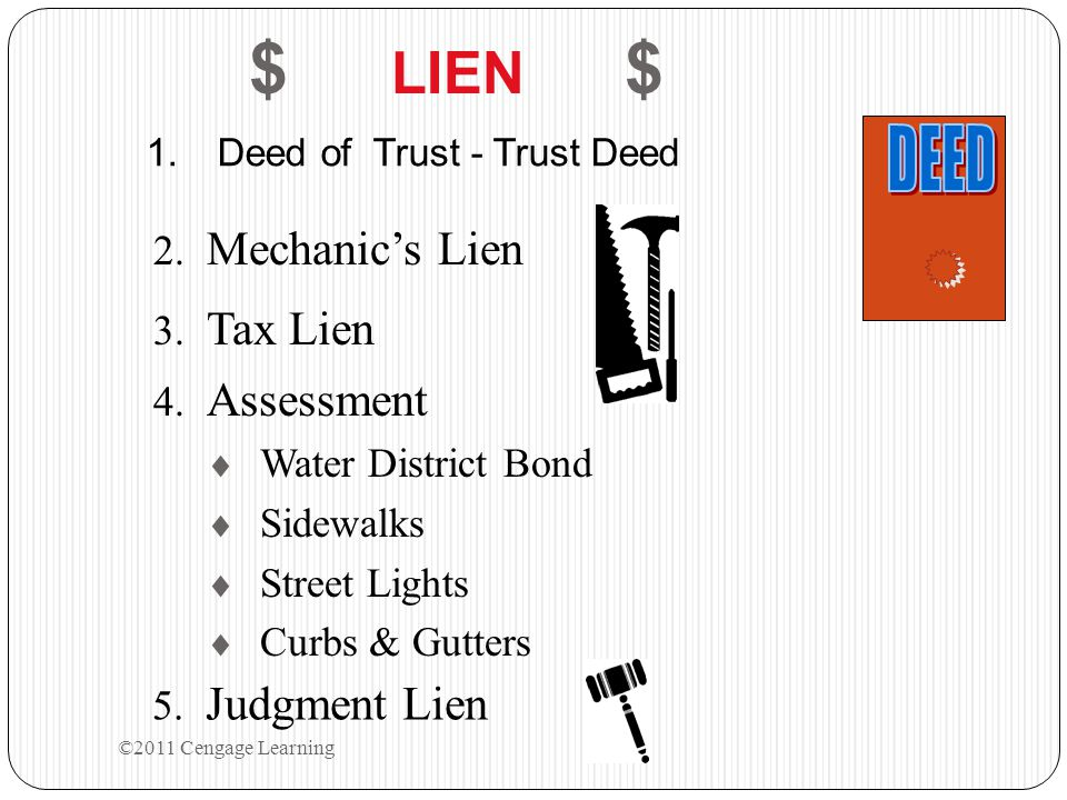 $ LIEN $ 1.Deed of Trust - Trust Deed 2. Mechanic's Lien 3.