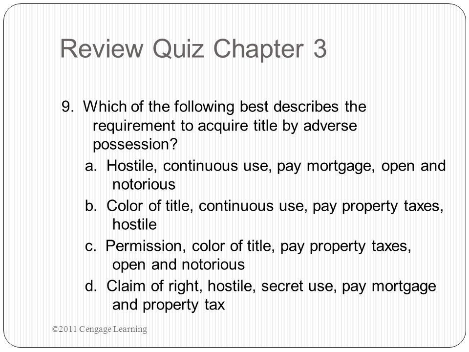 Review Quiz Chapter 3 9.