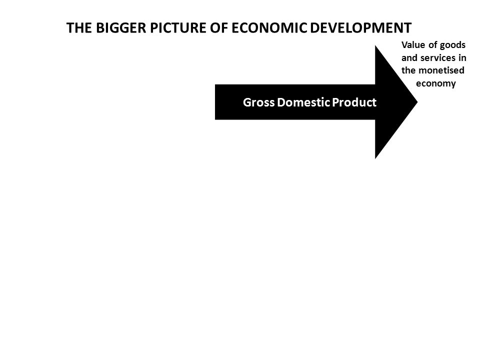 Gross Domestic Product THE BIGGER PICTURE OF ECONOMIC DEVELOPMENT Value of goods and services in the monetised economy