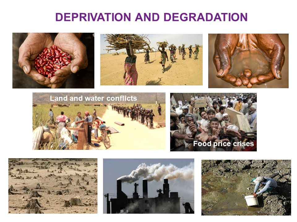 DEPRIVATION AND DEGRADATION Land and water conflicts Food price crises