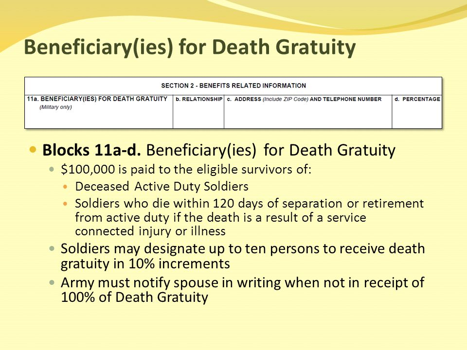 Beneficiary(ies) for Death Gratuity Blocks 11a-d.