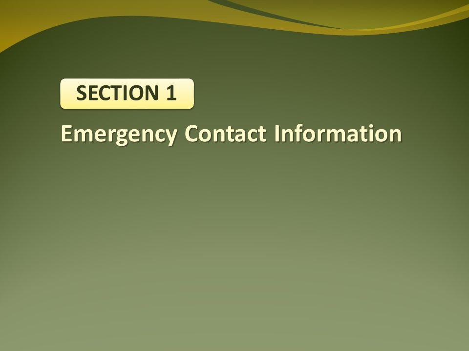 Emergency Contact Information SECTION 1