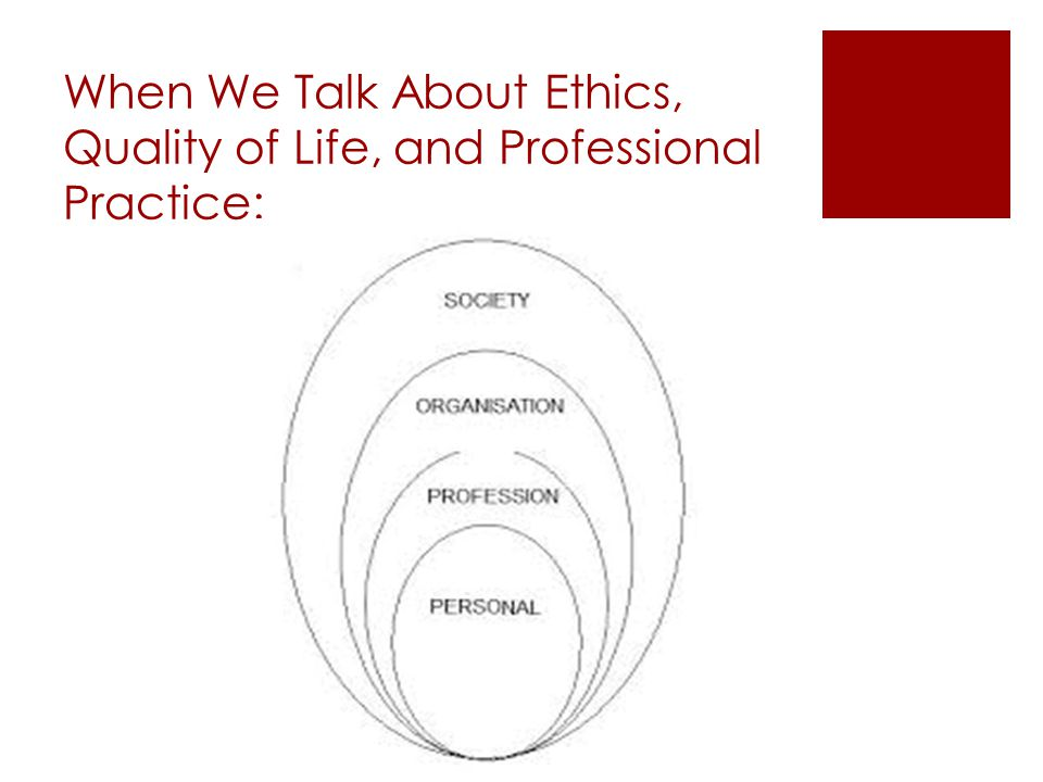 When We Talk About Ethics, Quality of Life, and Professional Practice:
