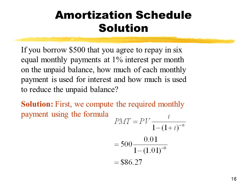16 Amortization Schedule Solution If you borrow $500 that you agree to repay in six equal monthly payments at 1% interest per month on the unpaid bala