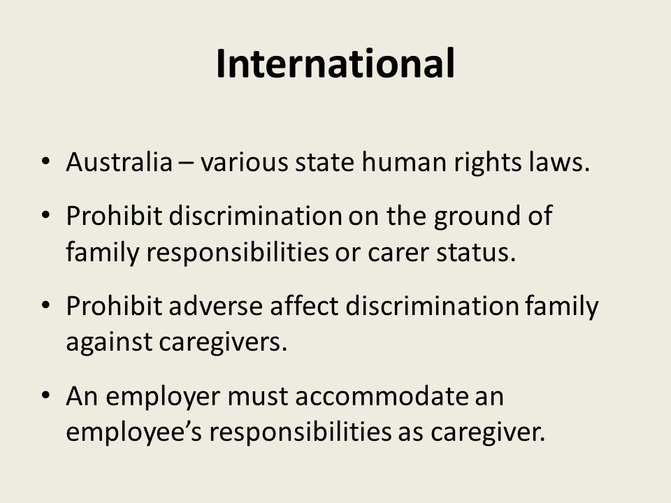 International Australia – various state human rights laws.