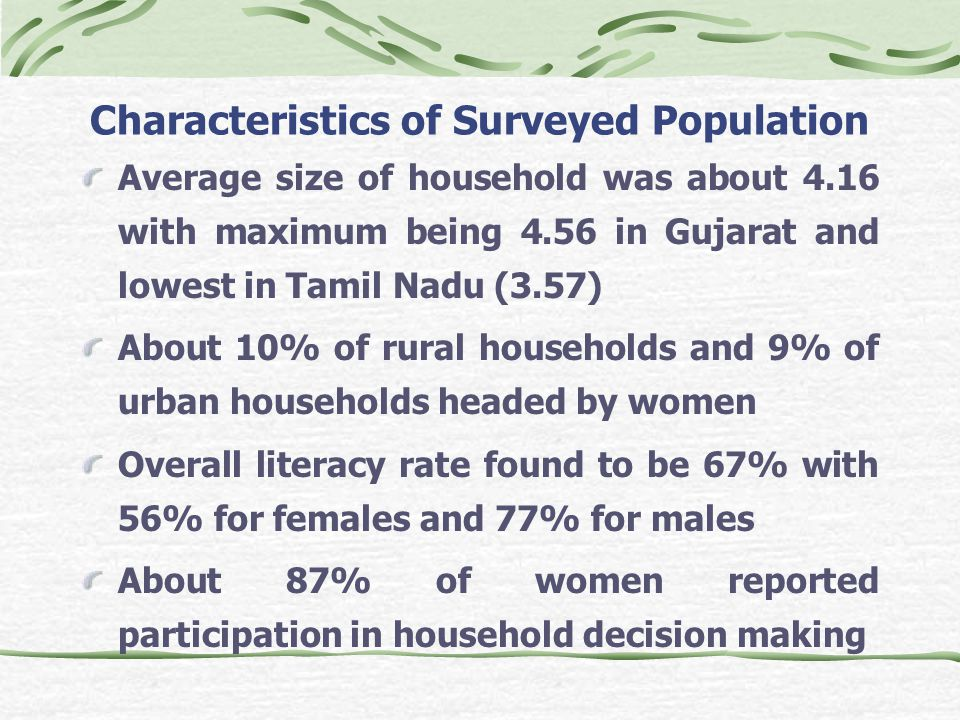 Characteristics of Surveyed Population Average size of household was about 4.16 with maximum being 4.56 in Gujarat and lowest in Tamil Nadu (3.57) About 10% of rural households and 9% of urban households headed by women Overall literacy rate found to be 67% with 56% for females and 77% for males About 87% of women reported participation in household decision making