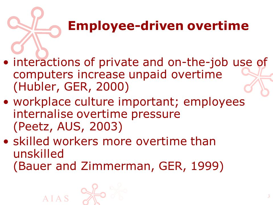 A I A S 3 Employee-driven overtime interactions of private and on-the-job use of computers increase unpaid overtime (Hubler, GER, 2000) workplace culture important; employees internalise overtime pressure (Peetz, AUS, 2003) skilled workers more overtime than unskilled (Bauer and Zimmerman, GER, 1999)