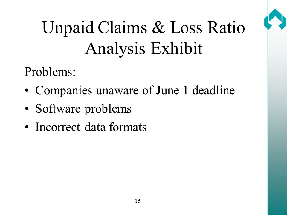 15 Unpaid Claims & Loss Ratio Analysis Exhibit Problems: Companies unaware of June 1 deadline Software problems Incorrect data formats