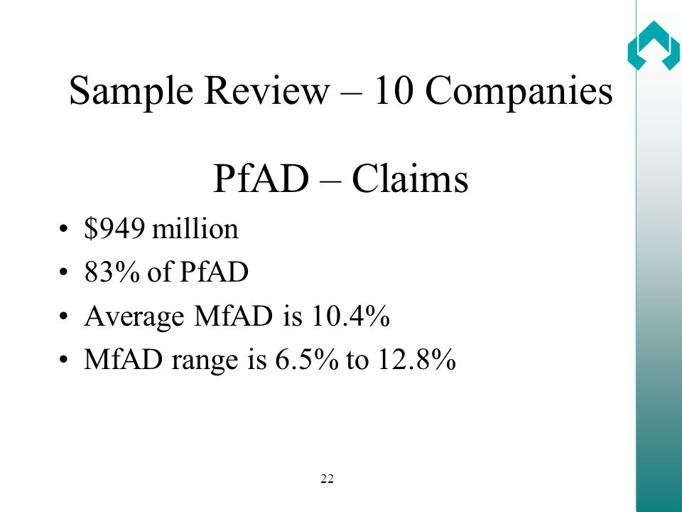 22 Sample Review – 10 Companies PfAD – Claims $949 million 83% of PfAD Average MfAD is 10.4% MfAD range is 6.5% to 12.8%