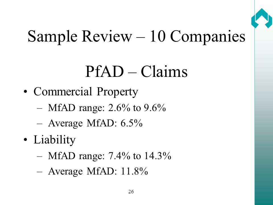 26 Sample Review – 10 Companies PfAD – Claims Commercial Property – MfAD range: 2.6% to 9.6% – Average MfAD: 6.5% Liability – MfAD range: 7.4% to 14.3% – Average MfAD: 11.8%