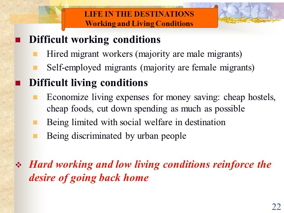 22 Difficult working conditions Hired migrant workers (majority are male migrants) Self-employed migrants (majority are female migrants) Difficult liv