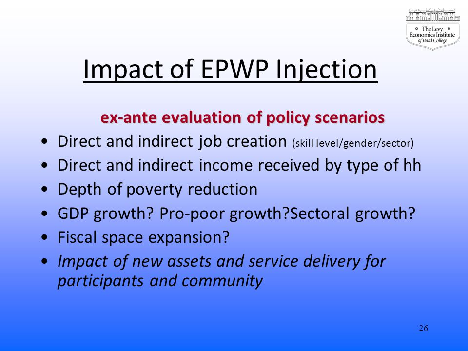 Impact of EPWP Injection ex-ante evaluation of policy scenarios Direct and indirect job creation (skill level/gender/sector) Direct and indirect income received by type of hh Depth of poverty reduction GDP growth.