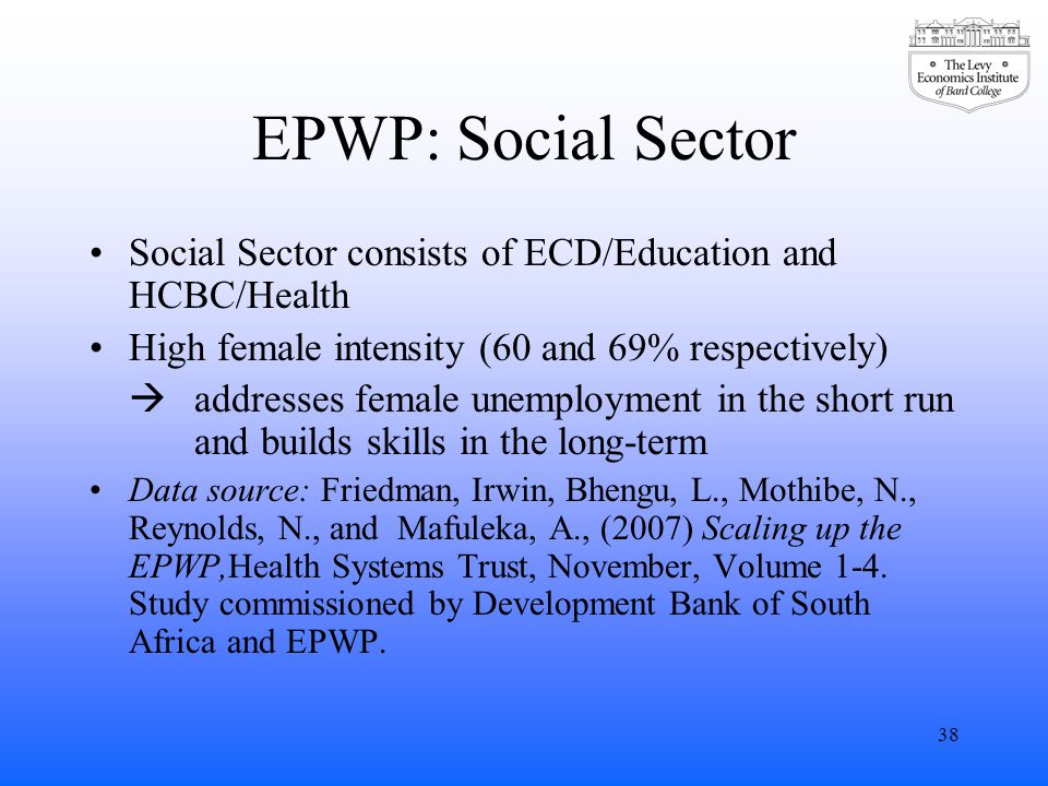 EPWP: Social Sector Social Sector consists of ECD/Education and HCBC/Health High female intensity (60 and 69% respectively)  addresses female unemployment in the short run and builds skills in the long-term Data source: Friedman, Irwin, Bhengu, L., Mothibe, N., Reynolds, N., and Mafuleka, A., (2007) Scaling up the EPWP,Health Systems Trust, November, Volume 1-4.