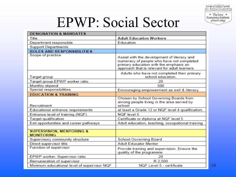 EPWP: Social Sector 39