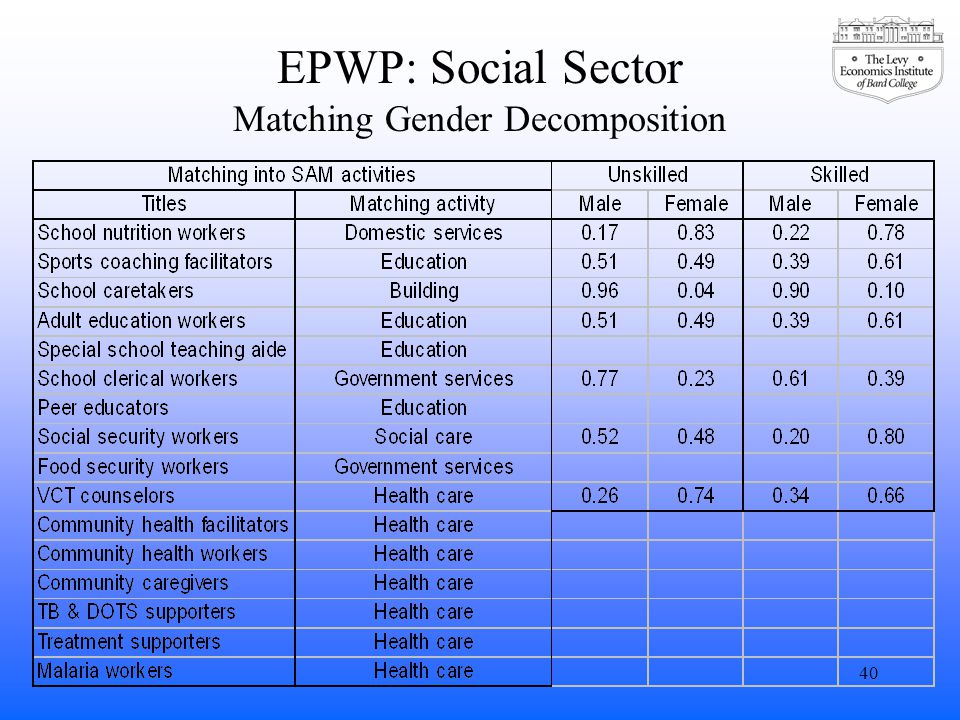 EPWP: Social Sector Matching Gender Decomposition 40