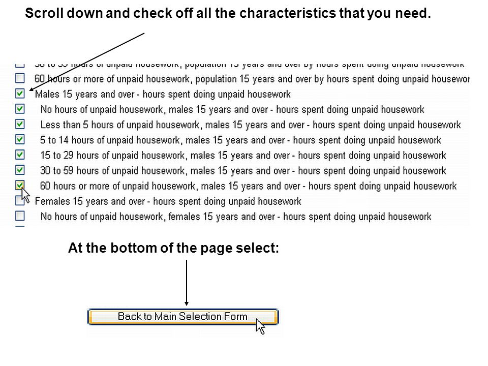 Scroll down and check off all the characteristics that you need. At the bottom of the page select: