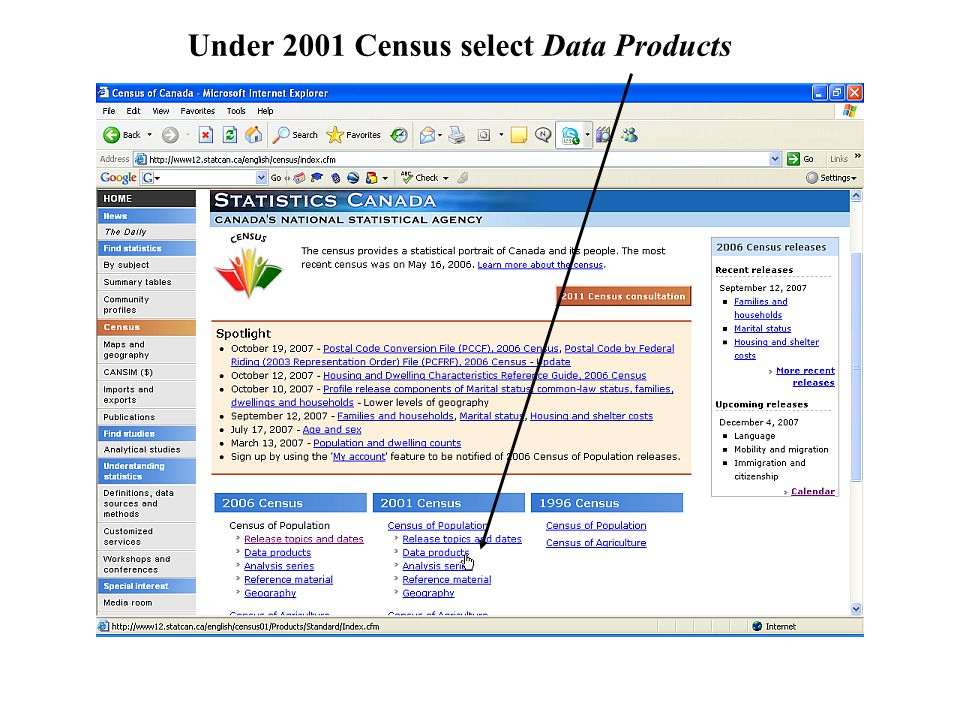 Under 2001 Census select Data Products