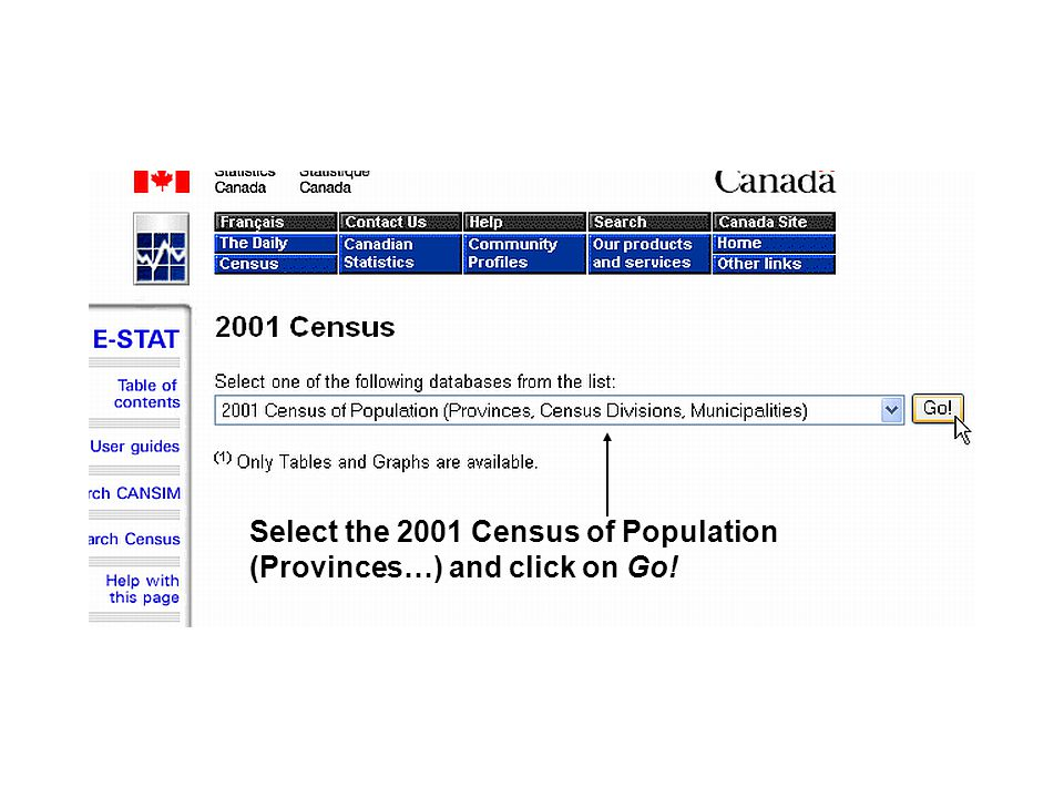 Select the 2001 Census of Population (Provinces…) and click on Go!