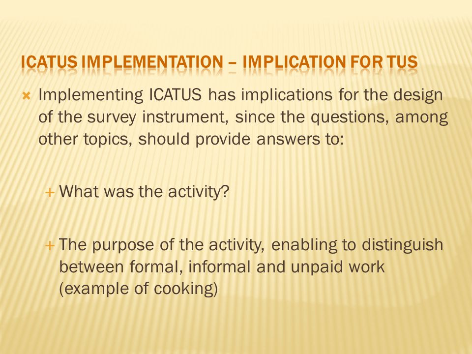  Implementing ICATUS has implications for the design of the survey instrument, since the questions, among other topics, should provide answers to:  What was the activity.