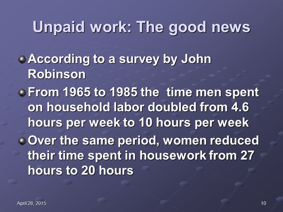 10April 28, 2015April 28, 2015April 28, 2015 Unpaid work: The good news According to a survey by John Robinson From 1965 to 1985 the time men spent on household labor doubled from 4.6 hours per week to 10 hours per week Over the same period, women reduced their time spent in housework from 27 hours to 20 hours