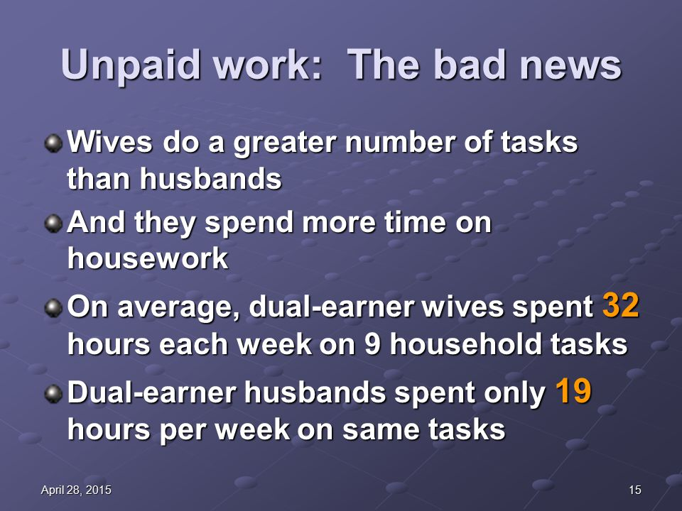 15April 28, 2015April 28, 2015April 28, 2015 Unpaid work: The bad news Wives do a greater number of tasks than husbands And they spend more time on housework On average, dual-earner wives spent 32 hours each week on 9 household tasks Dual-earner husbands spent only 19 hours per week on same tasks