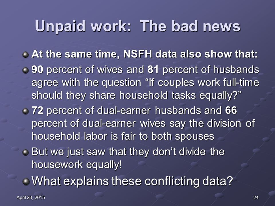 24April 28, 2015April 28, 2015April 28, 2015 Unpaid work: The bad news At the same time, NSFH data also show that: 90 percent of wives and 81 percent of husbands agree with the question If couples work full-time should they share household tasks equally? 72 percent of dual-earner husbands and 66 percent of dual-earner wives say the division of household labor is fair to both spouses But we just saw that they don't divide the housework equally.