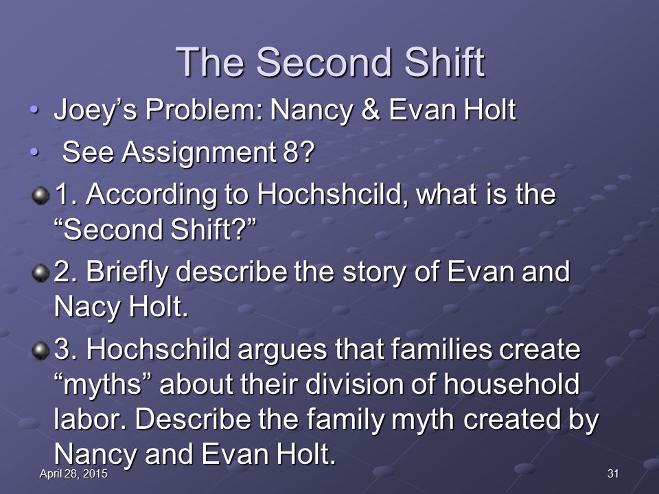 The Second Shift Joey's Problem: Nancy & Evan HoltJoey's Problem: Nancy & Evan Holt See Assignment 8.